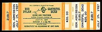 Bob Dylan / Grateful Dead 1987 Concert Ticket Autzen Stadium Eugene Jerry Garcia