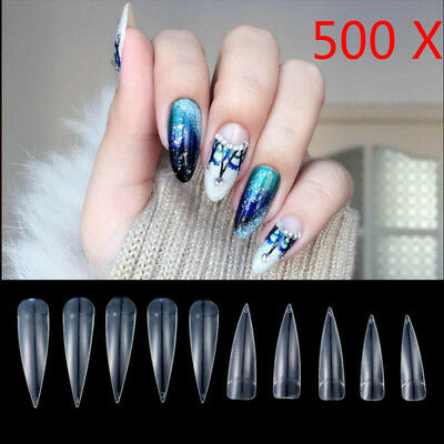 500 Clear Nails Acrylic Half French False Nail Art Tips Uv Gel Manicure Tip Set
