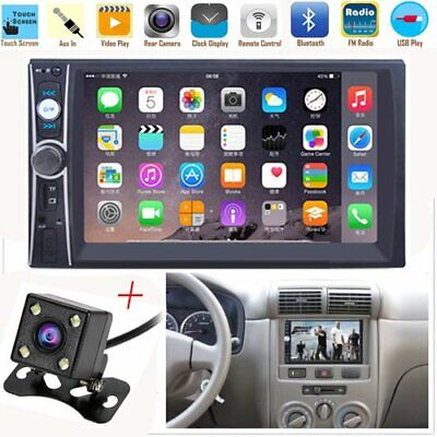 "7"" 2DIN Car MP5 Player Bluetooth Touch Screen Stereo Radio HD+Rear Camera USA"