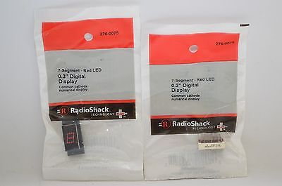 "Lot of 2 - Radioshack 7-Segment • Red LED 0.3"" Digital Display #276-0075"