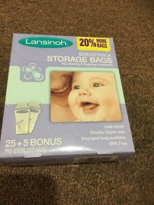 Lansinoh BPA Free Breastmilk Pre-Sterilized Storage Freeze Bags 25 Pkt