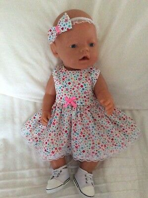 """Doll Clothes to fit 17"""" Baby Born doll ~ Dress & hband  ~ Small Flowers"""