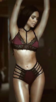 One Size Fits Most Womens Midnight Fantasies Cage Bra Set, High Waisted Bra Set