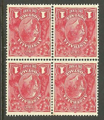 KGV - 1d Red (Single w/m) *WATERMARK INVERTED* Block of 4 Mint hinged (CV $200+)