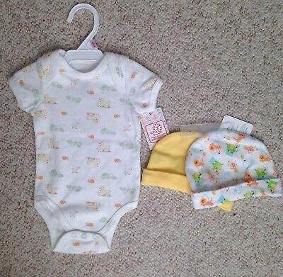0-6 month unisex boy/girl New 3pc Lot SWIGGLES ONE PIECE TOP&2 BABY HATS Animals