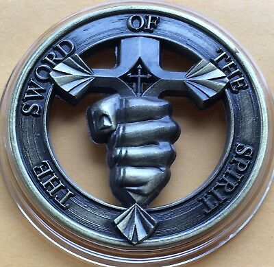 Sword Of The Spirit Medallion Collectors 40mm with Capsule Psalms 144:1 Bible