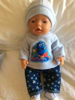 """DOLLS CLOTHES To Fit 17"""" Boy Baby Born Doll - 3 Piece Set - Blue - Finding Memo"""