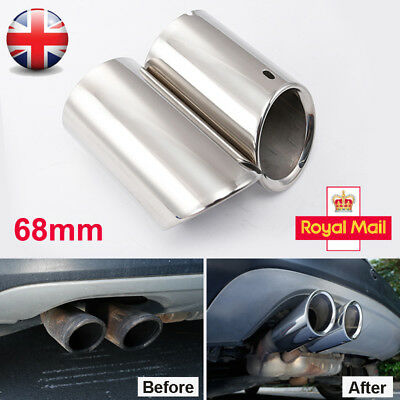 2× 68mm Stainless Steel Exhaust Pipe Rear Muffler Tip Tail VW Tiguan II 2017-18