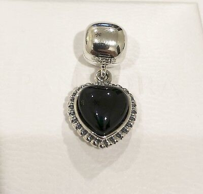 Pandora Heart Silver Dangle Clip Black Onyx Charm #791046ON+Gift Packaging+Pouch