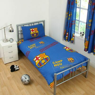 Fc Barcelona 'patch' Single Duvet Cover Set New Football Bedding