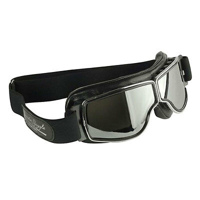 4e36c42346 Aviator T2 Chrome Moto Motorcycle Motorbike Black Leather Retro Pilot  Goggles