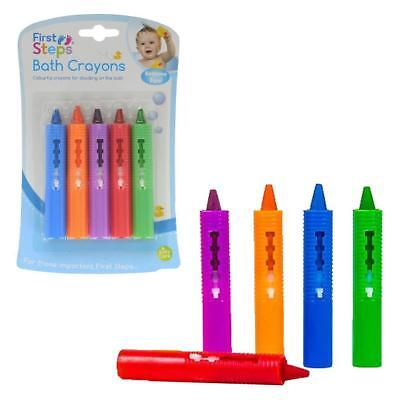 First Steps 5 pack Baby Bath Crayons - Non Toxic Bath Toys