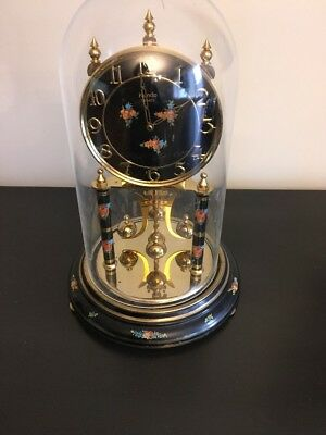 """KUNDO QUARTZ CLOCK WITH PLASTIC DOME COVER 12 1/2 """" TALL FROM GERMANY For Parts"""