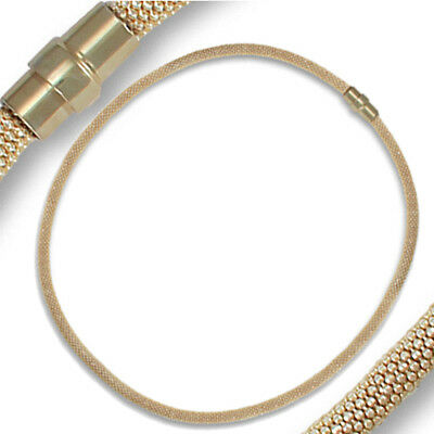 Jewelco London Sterling Silver Tubular Mesh Gilded Popcorn Necklace