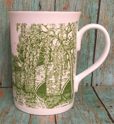 Staffordshire Pottery Mug Bakewell Coffee Cup Fine Bone China English Made Green