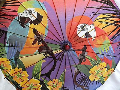 EXOTIC PAPER PARASOL COLOR PURPLE PARROT BIRD CHINESE DANCE FANCY PARTY second D