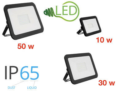 Outdoor LED Floodlight 10W 30W 50W  Slim Line 6500K Flood Light IP65 Black