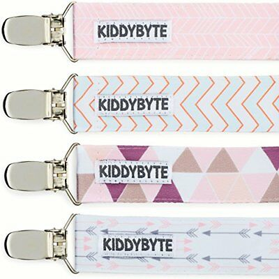 Baby Pacifier Clip Holder for Girl - 4 Pack Teething Clips Babies, Perfect...