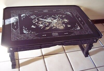 ASIAN Black Lacquer Coffee Table Mother Of Pearl INLAY