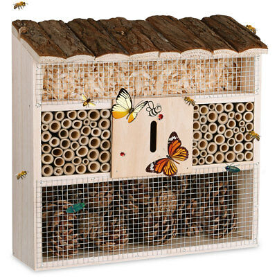 Insect Hotel Wooden Bee Butterfly Ladybird Nesting Box Aid Large Wood House