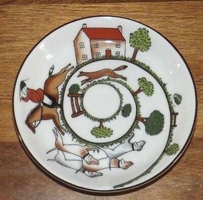 Crown Staffordshire Hunting Scene Bone China Trinket Pin Dish Coaster England 4""