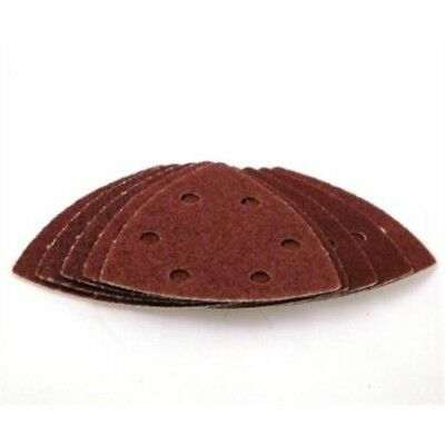 Toolzone 10pc 90mm Hook And Loop Backed Delta Triangle Sander Sandpaper Pads -