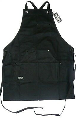 "HUDSON DURABLE GOODS Black Waxed Canvas Work Apron 34"" x 27"" Adjustable HDG901"