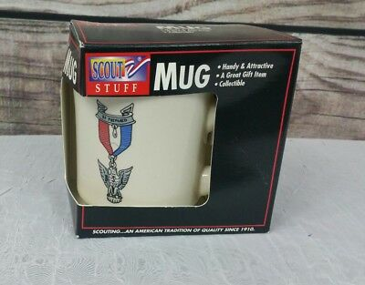 Vintage Gold Rimmed Eagle Scout Be Prepared BSA Mug Boy Scouts of America