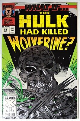 ESA1575. WHAT IF? #50 by Marvel 8.0 VF (1993) THE HULK HAD KILLED WOLVERINE?