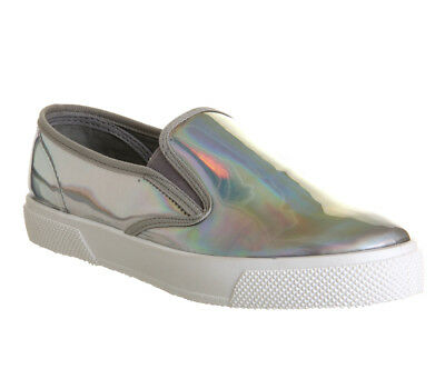 Womens Office Kicker Slip On Shoes Holographic Flats