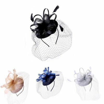 Ladies Looped Veil Net Headband Fascinator Hat Aliceband Wedding Race