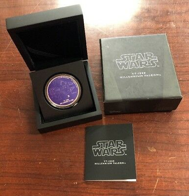 Niue 2017 Star Wars Ships Millenium Falcon 1 Oz Silver Proof With Box & Coa