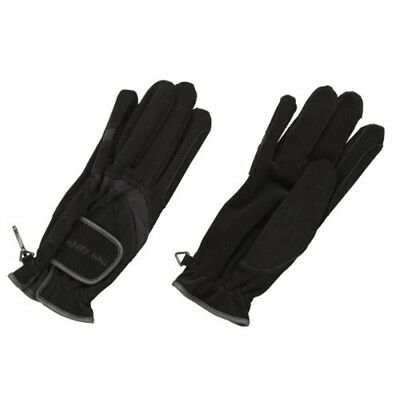Harry Hall Domy Suede Gloves - Black, Large - Riding Horse Black