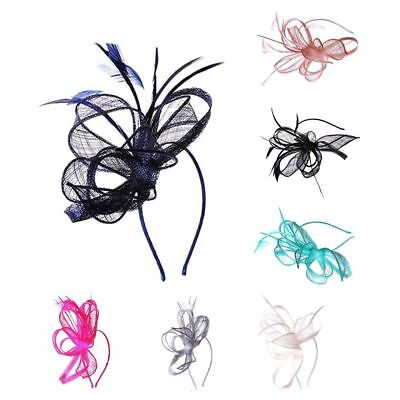 Ladies Elegant Sinamay Flower Feather Fascinator Aliceband Hat Headband