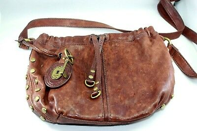 61b87e75766e FOSSIL LEATHER STUDDED Saddle Bag Crossbody Purse Long Live Vintage ...