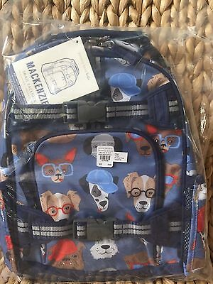 NWT Pottery Barn Kids Mackenzie Blue Cool Dogs Small Backpack No Mono