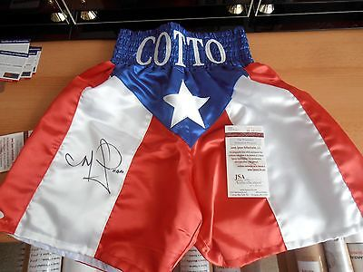 MIGUEL ANGEL COTTO Signed Bespoke Boxing Trunks/Shorts / JSA CERT