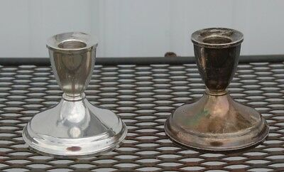 Pair of Vintage Sterling Silver Weighted Candle Holders Pat. Pend. - 3 ¼""