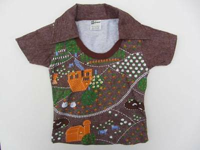 childs top farm theme brown 60's 70's age 3-4