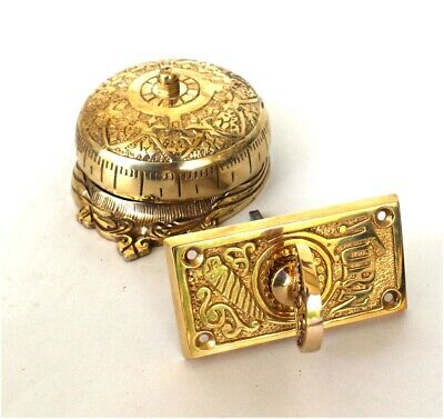 Brass Twist Door Bell Antique Replica Hardware Non Electric Hand Crank Turn Knob