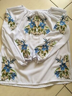 Ukrainian Embroidered White Blouse for women / Size M-L