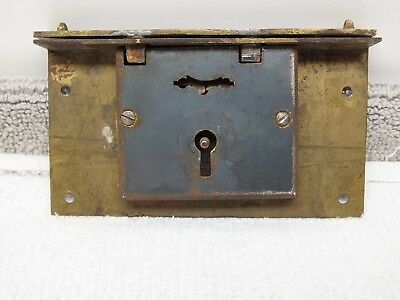 Original antique brass and steel furniture bookcase door box lid lock vintage