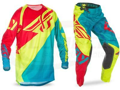 Fly Racing Evolution 2.0 Dark Teal/Hi-Vis Jersey & Pant Combo Set Riding Gear MX