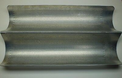 Vintage Perforated Double Loaf French Bread Baguette Baking Pan 16 X 8.25 Inches