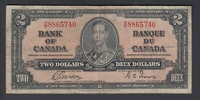 1937  $2 Dollars - Gordon Towers - Prefix S/B - Bank of Canada - D987