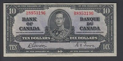 1937  $10 Dollars - Gordon Towers - Prefix N/D - Bank of Canada - E909