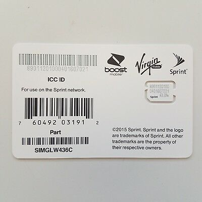 Sprint and MVNOs  UICC ICC Nano SIM Card for iPhone and iPad - SIMGLW436C