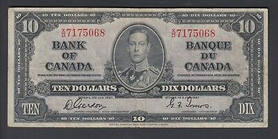 1937  $10 Dollars - Gordon Towers - Prefix X/D - Bank of Canada - E731