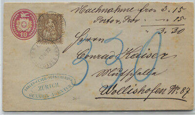 Switzerland 1872 10c Uprated Stationery to Wollishafen 15c Rate