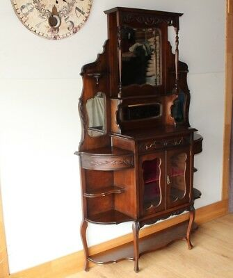 Antique French Parlor Cabinet Circa 1920s with Beveled mirrors